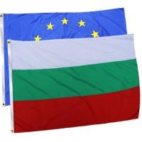 Комплект знамена на България и ЕС с лента 150х90 см.