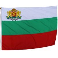 Знаме на България с герб и лента 150х90 см.