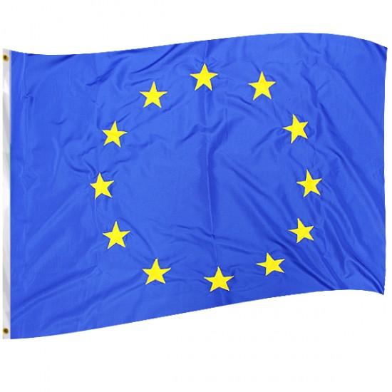 Комплект знамена на България и ЕС с лента.